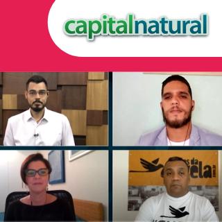 Foto de uma conversa de reunião virtual com Pablo Ribeiro, Paula Fabiani, Igor Alexsander Amorim, e Preto Zezé. Há um logo do programa Capital Natural.