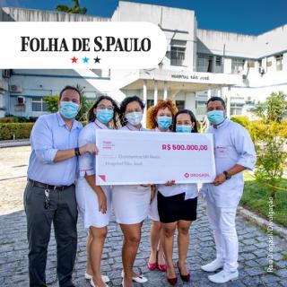 Equipe comemora doação para o Hospital São José, em Aracaju, feita pelo Fundo Emergencial para a Saúde - RaiaDrogasil/Divulgação